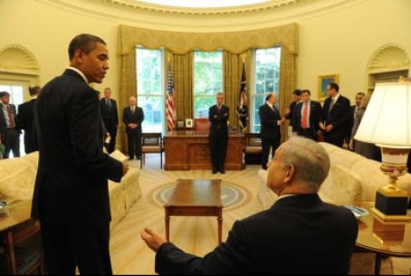 Netanyahu team meeting at Obama White House