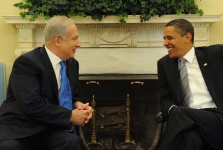 Obama (right) with Netanyahu in 2009 meeting