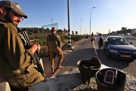 Reservists stand guard near Jerusalem