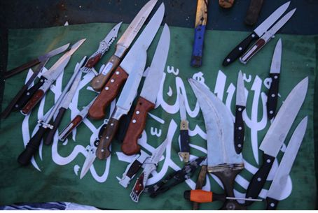 Knives seized aboard 'peace' ship.