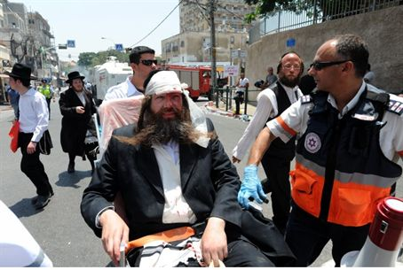 Injured Jew at protest