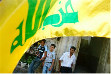 Hizbullah flag on Lebanon street.