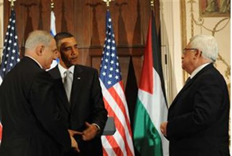Abbas with Obama, Netanyahu