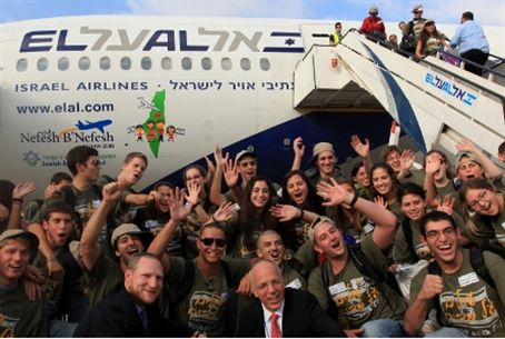 Aliyah flight of happy new immigrants