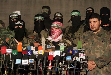 Hamas and other terrorists at Gaza news confe