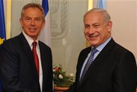 Netanyahu and Blair (file)