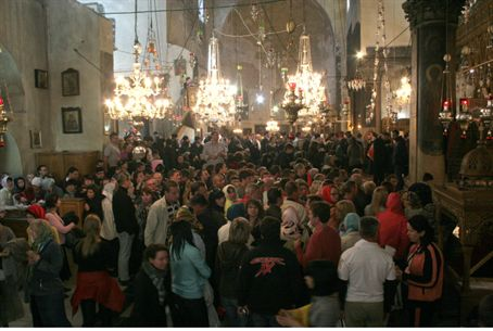 Tourists in Church of the Nativity