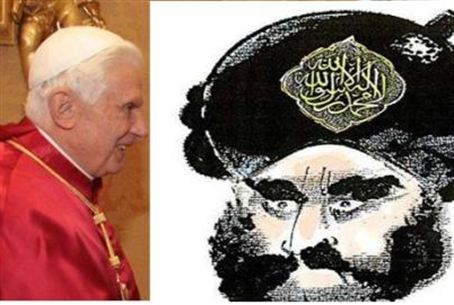 Pope and cartoon of Mohammed