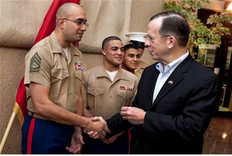 Mullen Greets Marines at embassy in Saudi Ara