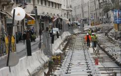 Light rail construction in downtown Jerusalem