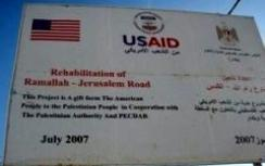 USAID Ramallah-Jerusalem road sign