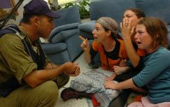 Soldier and expulsion victims at Gush Katif