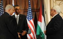 Obama with Netanyahu, Abbas