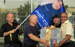 Noam Shalit with present for Gilad