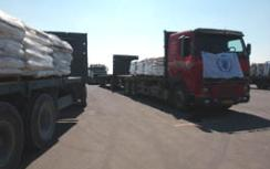 Trucks with supplies for Gaza.