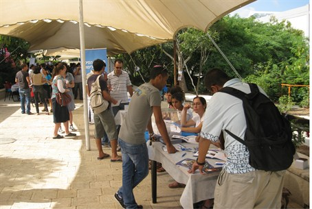 Potential students check out Ariel U
