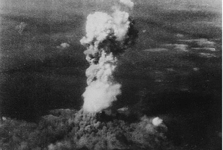 Smoke billows from Hiroshima after atomic bom