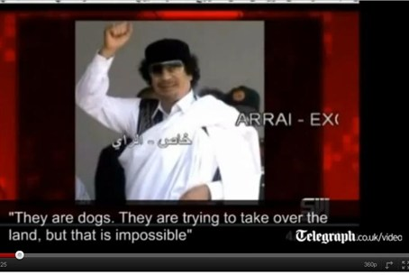 Muammar Qaddafi in video clip of audio tape