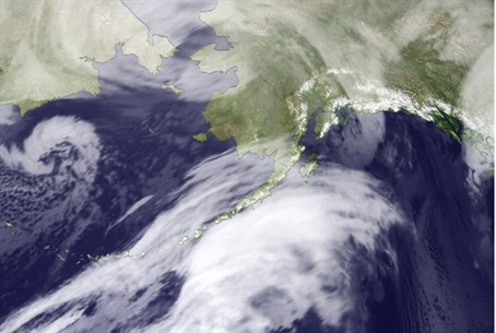 NOAA satellite photo shows storm over Bering