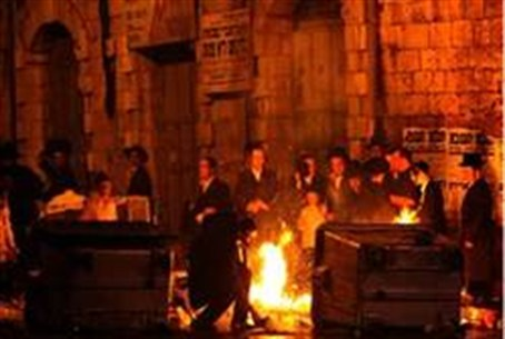 Hareidim protest in Meah Shearim