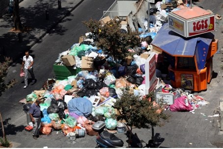 Garbage piles up during strike