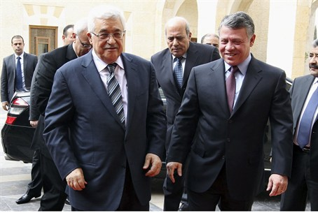 Jordan's King Abdullah and PA Chairman Mahmou