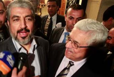 Hamas leader Mashaal and PA's Abbas in Cairo
