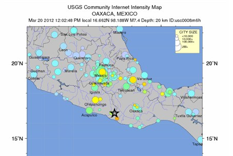 USGS Community Internet Intesnity Map - Oaxac