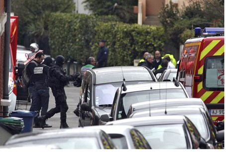 Masked special unit French police on the scen