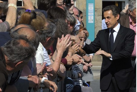 Nicolas Sarkozy Gladhands French Voters