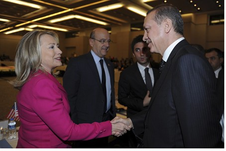 US Secy Hillary Clinton, Turkish PM Recep Tay
