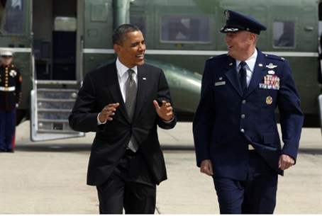 Obama with USAF Col. Michael Minihan