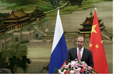 Sergei Lavrov speaks in Beijing