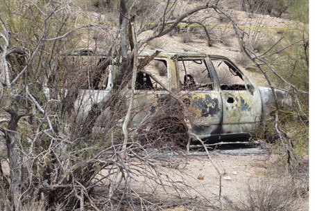 Burnt SUV found 35 miles south of Phoenix