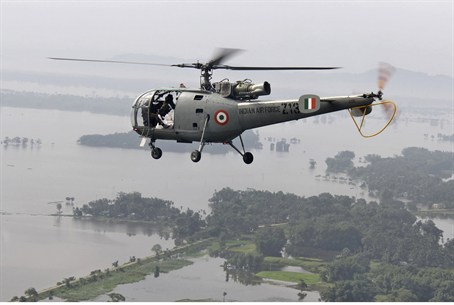 Indian Air Force helicopter surveys Assam flo