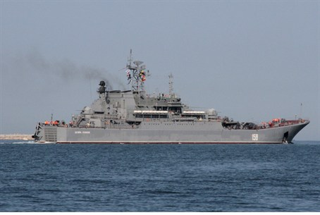 Russian Navy amphibious landing vessel leaves