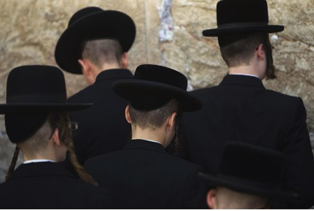 ultra-Orthodox Jews praying at Western Wall