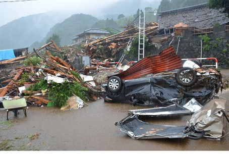 Flooding destroyed towns in southwestern Japa