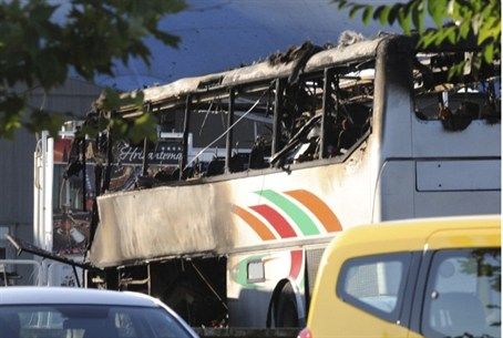Burnt bus at Burgas airport.