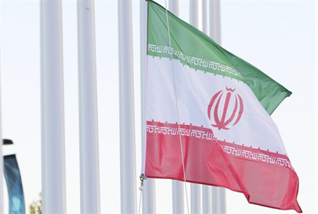 Iranian flag is raised at the welcome ceremon