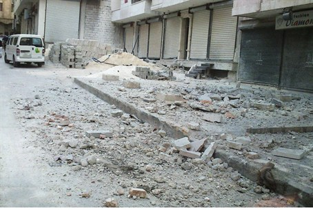 Damage and closed shops in Aleppo