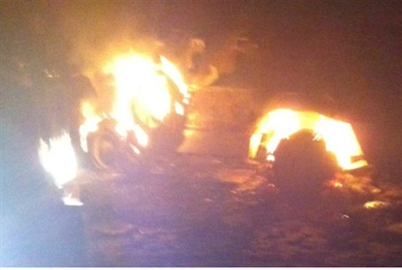 Burning Egyptian armored personnel carrier