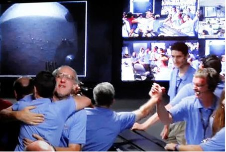 Image shot off a video screen from NASA TV s