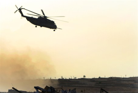 Egyptian helicopter over the Sinai