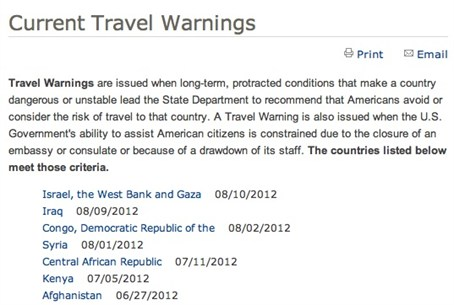 State Dept Warning