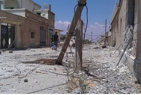 Damage seen on a street in near Deraa