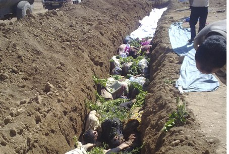 Mass burial at Daraya near Damascus