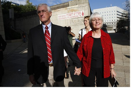 The parents of Rachel Corrie arrive at Haifa