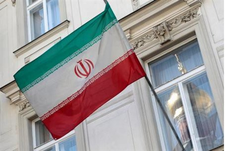 The Iranian flag is pictured at the Iranian e
