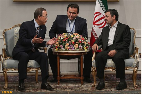 Ban Ki-moon meets with Mahmoud Ahmadinejad in